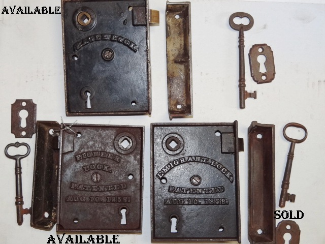 ... Antique Restoration Hardware early-rim-lock-13a - Antique Door Hardware. - Rim Locks Pre 1865